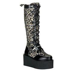 Women's Demonia Creeper-812 Cheetah Fur Lace-Up Boot Brown 10