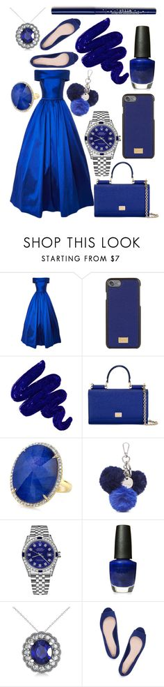 """Blue Beatitude"" by astridbd ❤ liked on Polyvore featuring Dolce&Gabbana, Obsessive Compulsive Cosmetics, Nine West, Rolex, OPI, Allurez and Tory Burch"