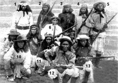 This is a group of some very famous Apache Scouts:  1) Astoyeh, 2) No'stle, 3) No-tolch, 4) Coonie, 5) Martine, 6) Cherlie, 7) Tsedekizen, 8) Unknown, 9) Gon-altis, 10) Mickey Free, 11) Kayitah, 12) Chato, 13) Dutchy
