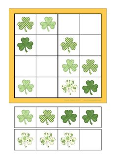 Board and tiles for the sudoku. Laminate and cut out the board and tiles. add hook and loop tape and the sudoku is ready. By Autismespektrum Spring Activities, Activities For Kids, Early Math, Preschool Education, Cut And Paste, Speech Therapy, Kids And Parenting, St Patricks Day, Board