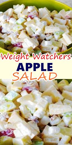 WEIGHT WATCHERS APPLE SALAD This deliciously fresh apple salad is similar to the famous Waldorf salad, a classic fruit salad made with apples, celery, and mayonnaise, which dates back to the late The addition of nuts didn't occur until and the Weight Watchers Salad, Weight Watchers Desserts, Weigh Watchers, Weight Watchers Apple Recipes, Skinny Recipes, Ww Recipes, Cooking Recipes, Xmas Recipes, Healthy Snacks