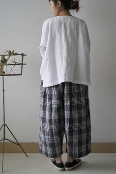 DOUBLE BUTTON SHIRTS LINEN WHITE ¥17,850  WIDE PANTS BLUE MIX CHECK linen100 ¥18,900       INDIAN SHIRTS LINEN WHITE ¥16,800  DIAPER PAN... Just Style, Altered Couture, Wide Pants, Pants Pattern, Linen Dresses, Japanese Fashion, Boho Outfits, My Wardrobe, Dressing