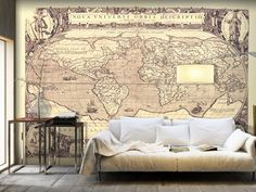Vintage style World map - an elegant decoration of the living room. #worldmap #worldmaps #wallpapers #wallpaper #wallmurals #wallmural #walldecoration #map #maps #bimago #wallart #homedecor