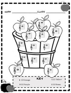 music coloring sheets fall color by note