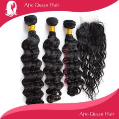 Brazilian Wave 3pcs hair wefts with 1 middle part lace closure.  http://www.aliexpress.com/store/group/Hair-Wefts-with-a-Closure/302731_253740928.html