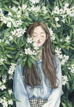 Ideas For Flowers Girl Illustration Anime Art Aesthetic Anime, Aesthetic Art, Beautiful Anime Girl, Anime Art Girl, Anime Guys, Illustration Girl, Illustration Artists, Cartoon Art, Cute Drawings