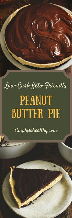 This Low-Carb #Peanut #Butter #Pie Recipe boasts a chocolate cookie crust and a rich fudge topping. This recipe can be part of a #lowcarb, #keto, #diabetic, #glutenfree, #grainfree or #Banting diet.