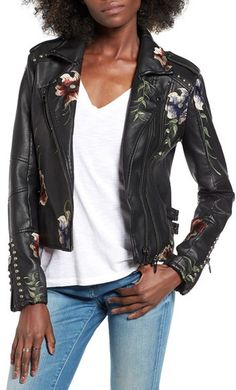 Women's Blanknyc Embroidered Faux Leather Moto Jacket | #Chic Only #Glamour Always