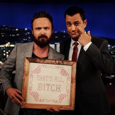 Aaron Paul and Jimmy Kimmel
