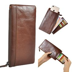 Geniune Leather Zipper Long Wallet Purse Card Holder Phone Case For Iphone Huawei Samsung sales at a wholesale price. Come to Newchic to buy a wallet, more cheap wallets for man are provided online Mobile. Men Clutch Bag, Man Purse, Purse Wallet, Cell Phone Pouch, Iphone Wallet Case, Phone Case, Phone Holder, Iphone 8, Tutu