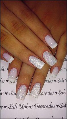 Ideias e Modelos de Unhas Decoradas para Formatura Nail Manicure, Pedicure, Nail Polish, Bride Nails, Wedding Nails, Bridal Nail Art, Little Bites, Nagel Gel, French Nails
