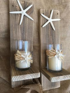 Set of 2 Reclaimed Wood Sconces with Starfish-Wall