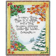 Four Seasons with Scripture Art Tapestry Throw