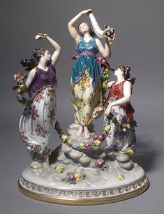Antique Dresden Porcelain Figural Figurine Lady Dancers 14 inches High!