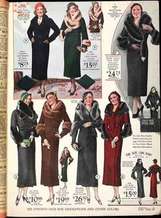 1930s coats color photo illustration catalogue print models