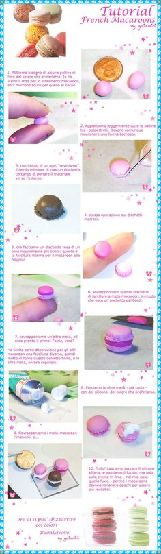 this is an italian tutorial to make super-mini-FrenchMacaroons out of polymer clay! I hope that the images speaks for themselves, but I can translate it if you're in doubt with anything. my tu...