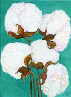 Cotton Bolls Acrylics Painting Cotton Painting by SharonFosterArt