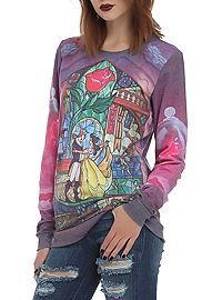 HOTTOPIC.COM - Disney Beauty And The Beast Rose Girls Crew Pullover