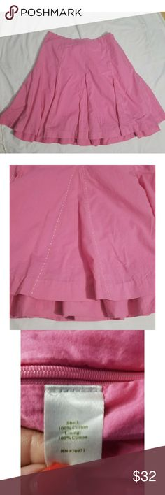 "Garnett Hill A-Line Flare Skirt Sz18 Really pretty and flattering pink skirt with white dashes detail. Great for work or fun! Side Zipper Fully lined with a ruffle in bottom that peeks thru  which gives this skirt a different stylish look Measurements: Waist 19"" across Hips 24.5"" across Length 23.5"" Measurements are approximate and taken on flat lay  Smoke/Pet Free Home Garnett Hill Skirts A-Line or Full"