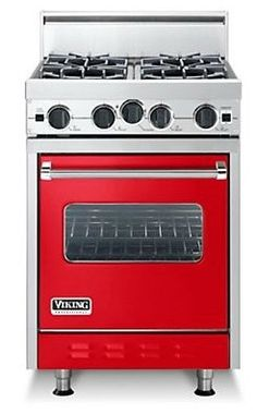 Products to make a (very) small kitchen work harder: Viking stove Viking Kitchen, Viking Stove, Viking Range, Red Kitchen, Kitchen Colors, Kitchen Design, Kitchen Ideas, Kitchen Photos, Kitchen Stuff