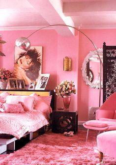 Betsey Johnson's pink NYC loft. Just love Betsey!   via Elle Decor UK