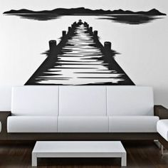$17.49 Art Mural Wooden Bridge and Distant Mountain Pattern TV Background Wall Sticker DIY Home Decoration