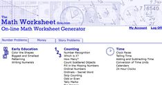 With The Math Worksheet Site you can create an endless supply of printable math worksheets. The intuitive interface gives you the ability to easily customize each worksheet to target your student's specific needs. Every worksheet is created when you request it, so they are different every time. Worksheet Generator, Worksheet Maker, Learn Math Online, Line Math, Site Image, Summer Courses, Printable Math Worksheets, Social Bookmarking, Number Recognition