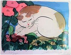 Sleeping cat | silk screen, 1985  | by Walasse Ting