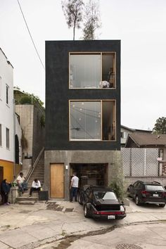 House Small Facade Simple Ideas For 2019 Residential Architecture, Contemporary Architecture, Interior Architecture, Black Architecture, Living Haus, Tiny House Exterior, Building Exterior, Casas Containers, Design Exterior