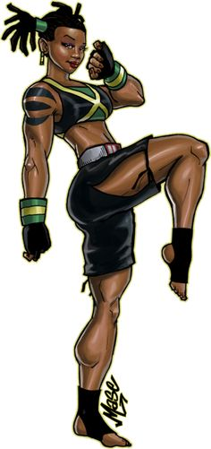 [ Description: A muscular dark skinned woman with corn rowed hair done up in pigtails. She wears a sports top and gym shorts, showing off her tattooed physique.]  Ty Advanced by ~mase0ne