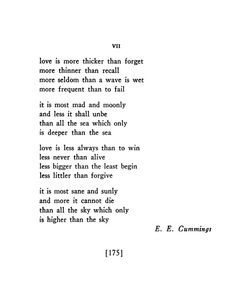 """[love is more thicker than forget]"" —E.E. Cummings, POETRY, January 1939"