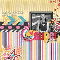 Digital Scrapbook Layouts, super hero, Wonder Woman, Halloween, stars, paint, arrows, tween