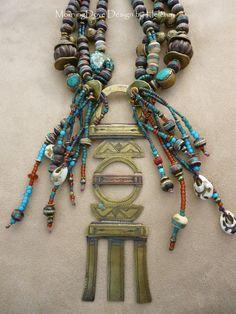 Desert Queen Tuareg veil weight beaded necklace par MorningDove