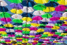 Águeda Mantém a Tradição Dos Chapéus de Chuva.. A 80 quilómetros do Porto, na pequena cidade de Águeda, mantém-se uma tradição que tem atraído milhares de pessoas à localidade. Todos os anos, no Verão, são colocados centenas de guarda-chuvas coloridos sobre as pequenas e estreitas ruas.