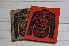 Nashville Music City-  Red Block Print