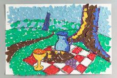 Impressionist painter Paul Cezanne inspires original mosaic artwork as you explore Paris, France. Paul Cézanne, Projects For Kids, Art Projects, School Projects, Cezanne Art, Art Eras, Paper Mosaic, 6th Grade Art, Third Grade