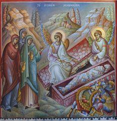 Myrrhbearers at the Tomb / Resurrection Christ Is Risen, He Is Risen, Prayer For Family, Jesus Resurrection, Byzantine Icons, Orthodox Icons, Religious Art, Narnia, Renaissance