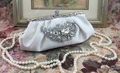 Ivory Satin Bridal Wedding Evening Clutch Purse by NineteenThings