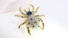 Rhinestone Spider Brooch Pin, Large Pave Set Clear Sapphire Blue Stones, Gold Figural Bug, Spider Jewelry Swarovski Style