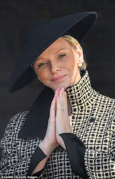 c8b27488ff0 Princess Charlene used the occasion to debut a new hat in black felt with  small