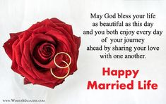 Latest happy married life wishes messages,Heartfelt happy wedding wishes for new couple,New wedding card wishes messages for friends & family. Happy Wedding Quotes, Wedding Congratulations Quotes, Islamic Wedding Quotes, Happy Wedding Wishes, Wedding Wishes Messages, Wedding Greetings, Happy Wedding Day, Wedding Message For Friend, Marriage Wishes In English