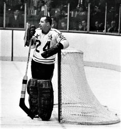 Chicago Blackhawks goaltending legend and the N.H.L's 'Mr. Goalie' Glenn Hall has played in more NHL All-Star Games (13) for more minutes (540:16) and most consecutive games played (nine) than any other goalie in NHL history. Here in this picture, Hall takes a breather during the NHL's 19th All-Star Game, played Oct. 20, 1965 at the Montreal Forum. Hall made 39 saves as the all-stars beat the defending Stanley Cup-champion Montreal Canadiens 5-2 before a crowd of 14,284. Hockey Goalie, Hockey Teams, Hockey Players, Ice Hockey, Nhl All Star Game, Stanley Cup Champions, Vancouver Canucks, Montreal Canadiens, Chicago Blackhawks