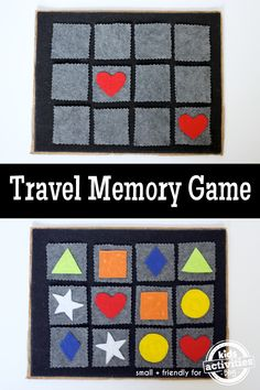 This simple handmade travel memory game is a great activity to bring on your next road trip. Car Games For Kids, Fun Activities For Kids, Diy For Kids, Crafts For Kids, Fun Crafts, Memory Games For Kids, Indoor Activities, Summer Crafts, Family Activities