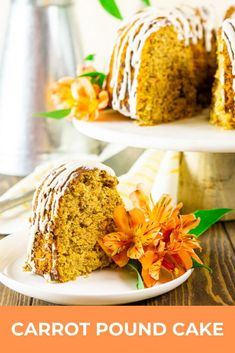 For a twist on your classic carrot cake recipe, give this carrot pound cake a try! This super easy pound cake recipe with cream cheese glaze is the most moist pound cake and full of those carrot cake spices you love. It's the perfect Easter dessert or great for any time of year! #carrotpoundcake #carrotcakerecipe #uniquecarrotcake #eastercarrotcake #eastercake #easterdessert #moistcarrotpoundcake