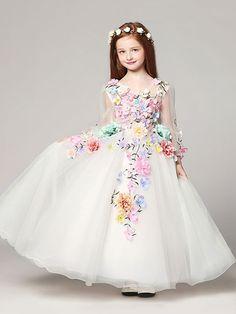 Princess Flower Girl Dresses White Floor Length Applique V Neck Tulle Long Sleeve Kids Pageant Dresses
