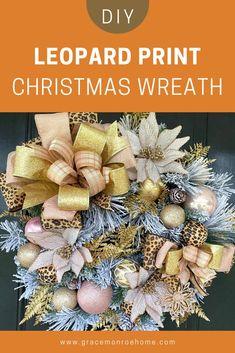DIY Leopard Print Christmas Wreath Snowman Wreath, Diy Wreath, Christmas Ideas, Christmas Wreaths, Christmas Decorations, Holiday Decorating, Decorating Ideas, Bow Making Tutorials, Printed Ribbon