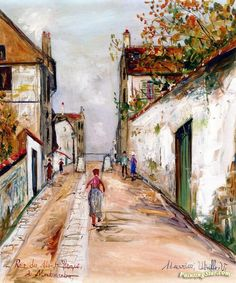 Rue du Mont-Cenis in Montmartre Artwork by Maurice Utrillo Hand-painted and Art Prints on canvas for sale,you can custom the size and frame