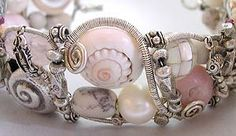 Pink Paella Cuff Bracelet with Opal, Shell & Sterling Silver