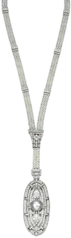 ATTRACTIVE NATURAL PEARL AND DIAMOND SAUTOIR,  LATE 1920s. Designed as a seed pearl necklace  highlighted at intervals with geometric spacers set with baguette and single-cut diamonds suspending a detachable oval pendant centring on a natural pearl of grey tint, further set with baguette, oval, circular- and single-cut diamonds, inner circumference approximately 590mm, indistinct maker's marks, case. Sotheby's.