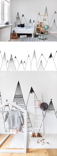 Best Ideas For Baby Boy Room Wallpaper Black White Kids Room Art, Kids Room Design, Kids Rooms, Wall Design, Art Kids, Wall Decor Kids Room, Design Design, Murals For Kids, Art Children